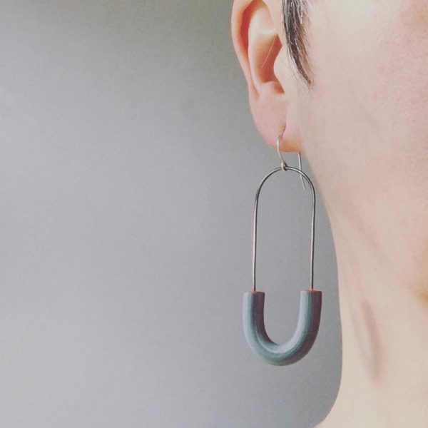 Arcata Earrings | polymer clay and sterling silver long hoops. Jane Pellicciotto.