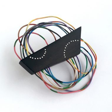 Arches Brooch. wood and vintage electrical wire. Jane Pellicciotto