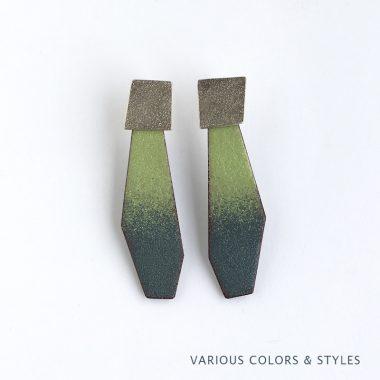 Green and Gray Enamel Drop Earrings, sterling silver and enamel. Jane Pellicciotto