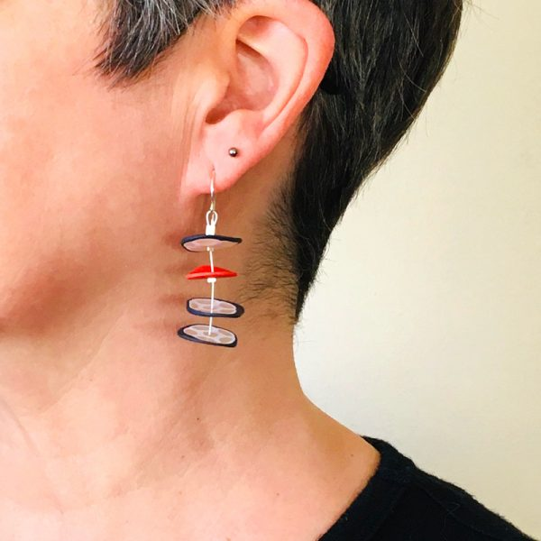Quattro Disc polymer clay and silver earrings. Jane Pellicciotto