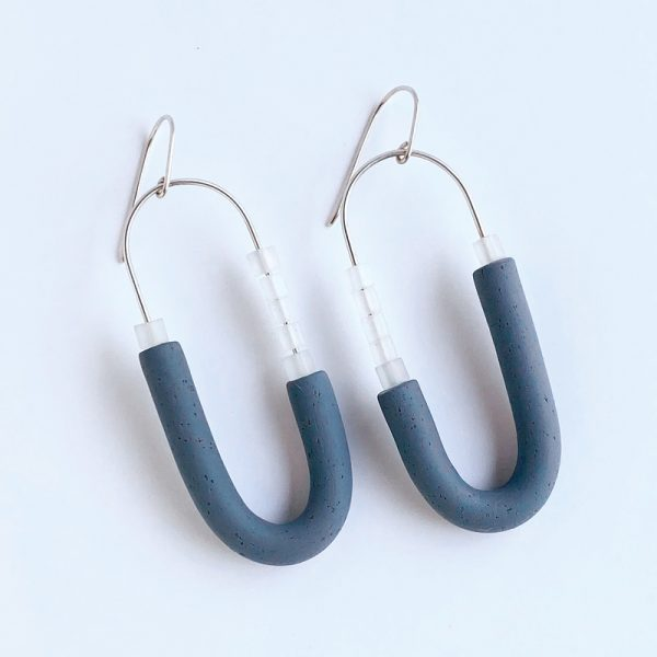 Stormy Hoop polymer clay earrings. Jane Pellicciotto