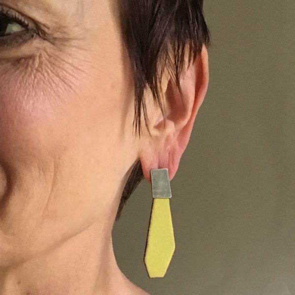 Model wearing Melon Enamel Drop earring. Jane Pellicciotto