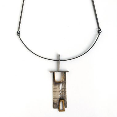 Chaco Necklace. Sterling silver and bronze. Inspired by ancient structures. Jane Pellicciotto
