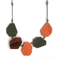 Divot Necklace | polymer clay, wood, sterling silver. Jane Pellicciotto