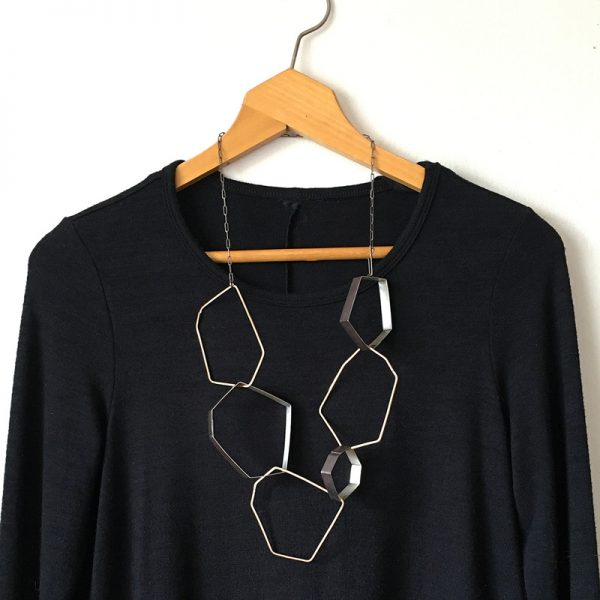 Jumble necklace. brass and sterling silver. Jane Pellicciotto. 2019