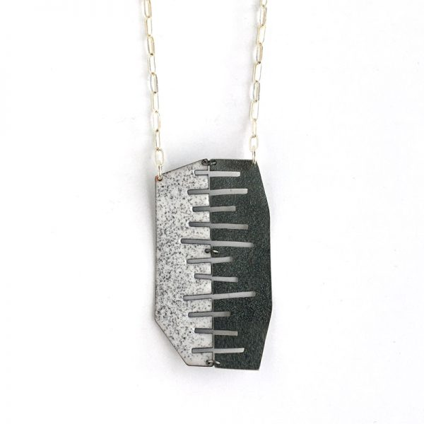 Merge Pendant, enamel on copper, and sterling silver. Jane Pellicciotto