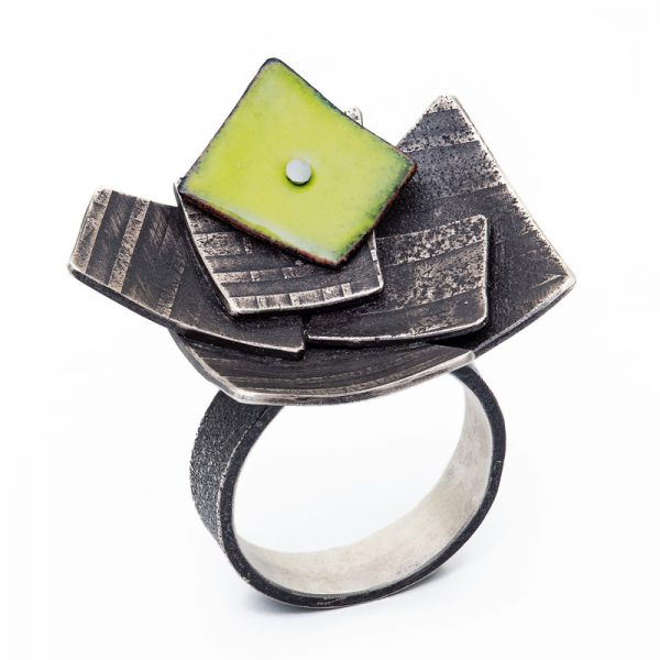 Flutter ring with enamel accent. Jane Pellicciotto