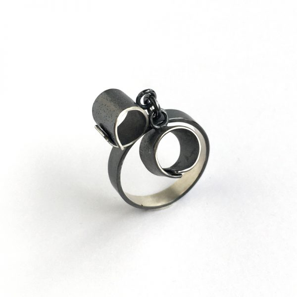 Overlapping tube dangle ring. Sterling silver. Jane Pellicciotto