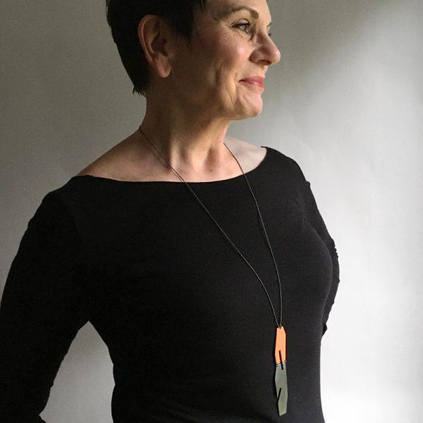 Enamel and oxidized silver reversible pendant. Jane Pellicciotto
