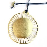 Big SOULstice pendant. Pierced, brushed brass sun. Jane Pellicciotto