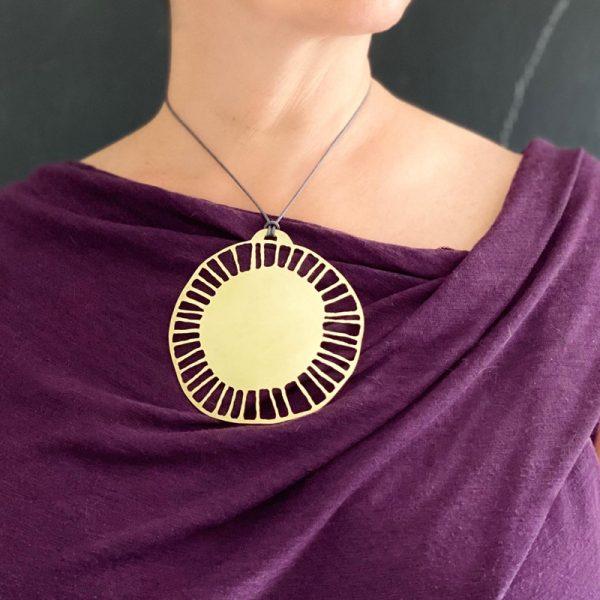 Big SOULstice pendant. Brushed, pierced brass. Jane Pellicciotto