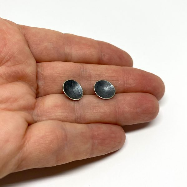 Industrial style textured cup stud earrings. Jane Pellicciotto