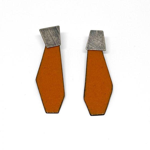 Orange enamel drop earrings with sterling silver posts. Jane Pellicciotto