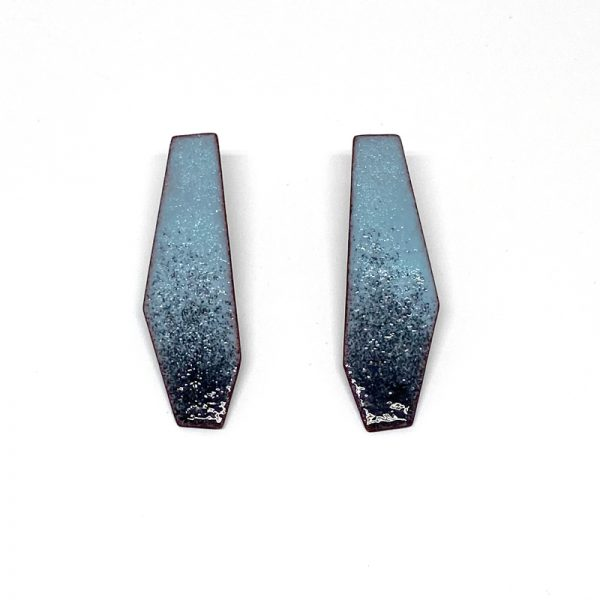 Enamel post polygon earrings with a blue black ombré. Jane Pellicciotto
