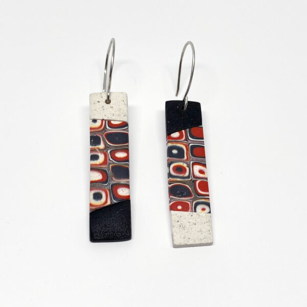 Red, Black and White mosaic polymer clay earrings. Jane Pellicciotto