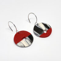 Black and white swirl with red, polymer clay earrings. Jane Pellicciotto