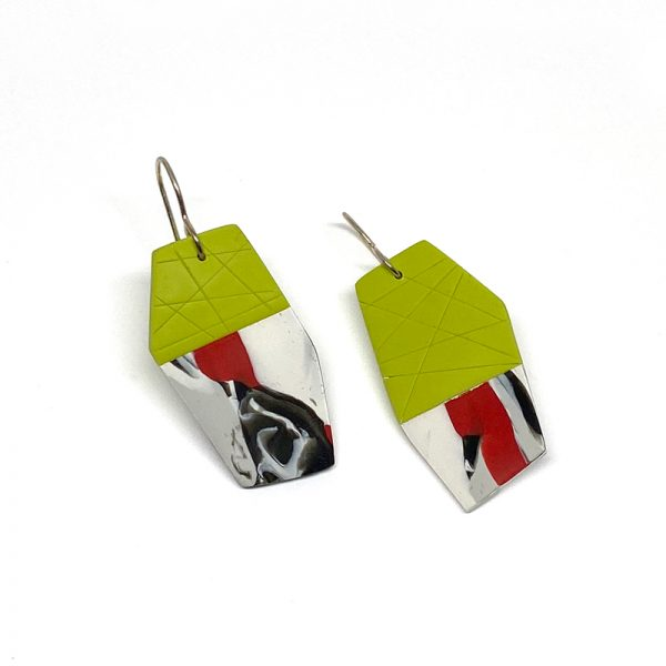 Green, white and red polymer clay polygon earrings. Jane Pellicciotto