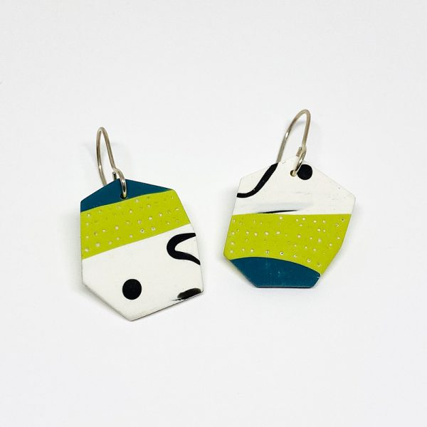 Black, green, teal polymer clay tile earrings. Jane Pellicciotto