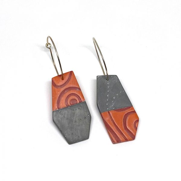 Orange and Gray Long Tile Post Earrings. Polymer clay. Jane Pellicciotto