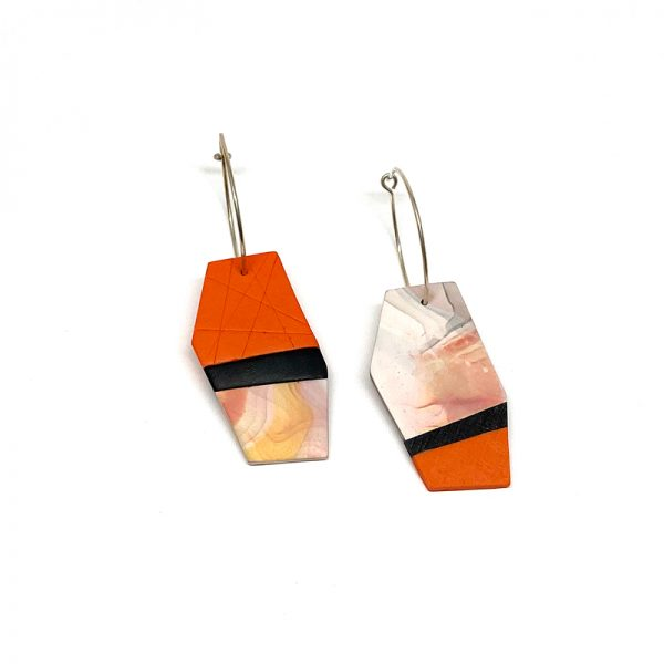 Orange and black stripe polymer clay earrings. Jane Pellicciotto