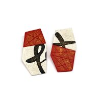 Red, black and white calligraphy post earrings. Jane Pellicciotto