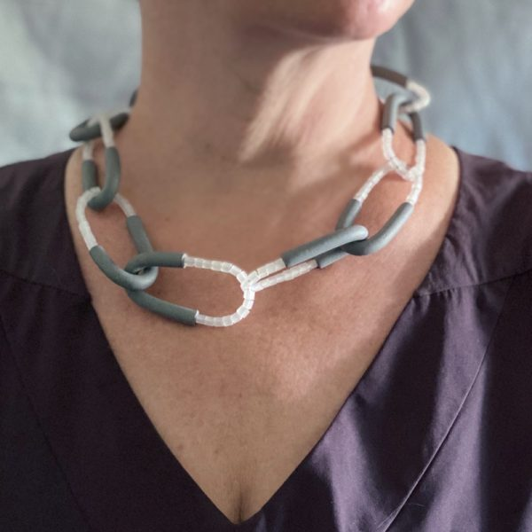 Arcata necklace. Polymer clay, Japanese glass beads and sterling silver. Jane Pellicciotto
