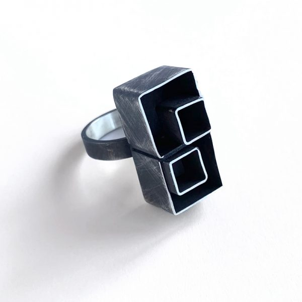 Double nested cube ring. sterling silver. Jane Pellicciotto