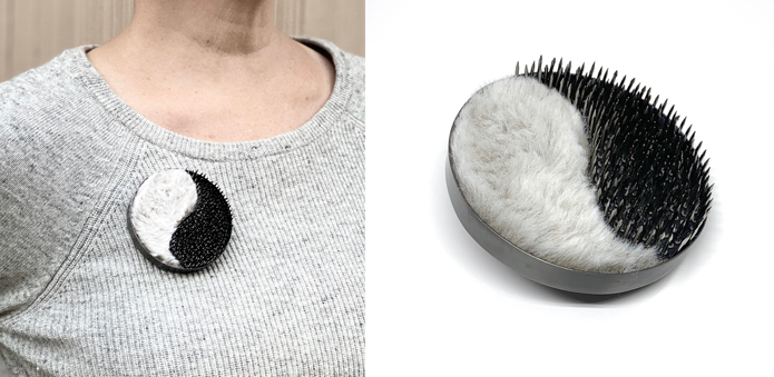 Come Here, Go Away brooch. Sterling silver, fur, copper, wood, nails, steel. Jane Pellicciotto