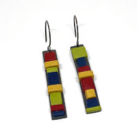 Totem Earrings. Polymer clay, bright colors. Jane Pellicciotto