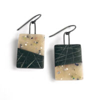 Crosshatch confetti tile earrings. Polymer clay and sterling silver. Jane Pellicciotto