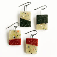 Polymer clay Mezzo Tile earrings. Jane Pellicciotto