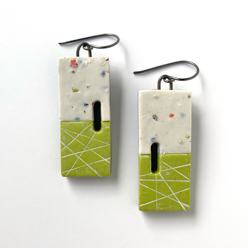 "Polymer clay ""nouget"" earrings with green and gray. Jane Pellicciotto"