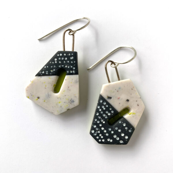 """Polymer clay """"nouget"""" earrings with black, white and green. Jane Pellicciotto"""