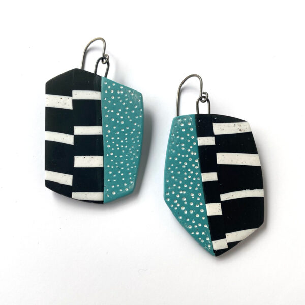Large, striped slab, polymer clay earrings. Jane Pellicciotto