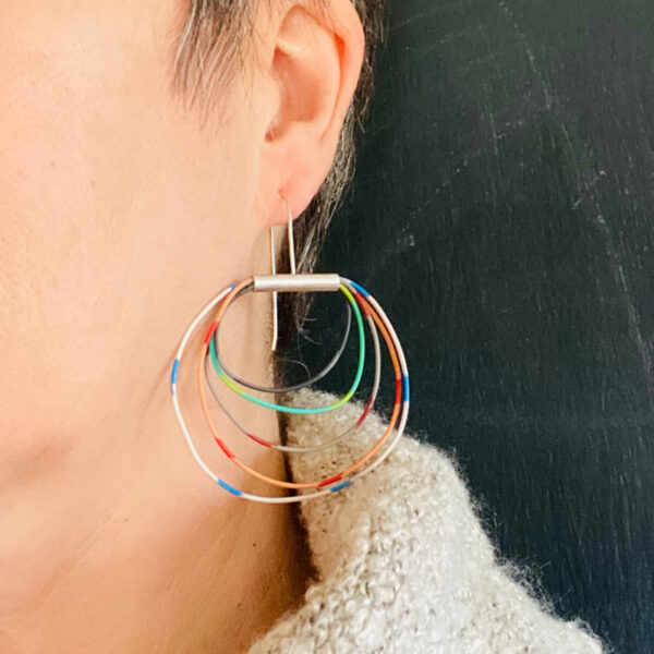 Vintage electrical wire and silver hoops. Jane Pellicciotto