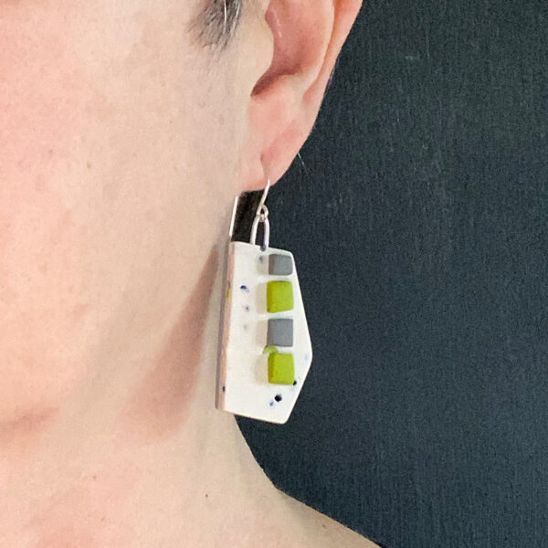 Nougat Wedge Earrings, polymer clay and sterling silver. Jane Pellicciotto