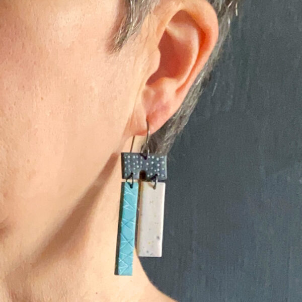 Two-bar textured polymer clay earrings. Jane Pellicciotto
