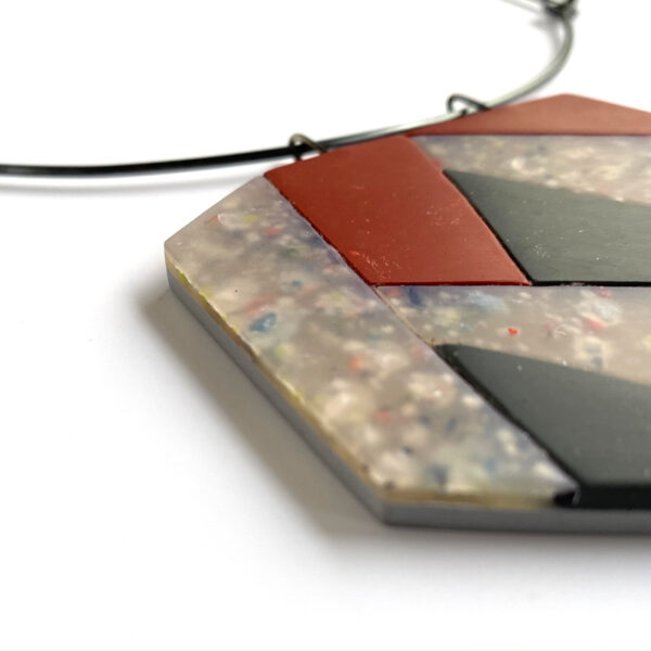 Mosaic necklace. Polymer clay and sterling silver. Jane Pellicciotto