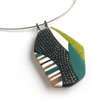 Patchwork Pendant/Brooch. Polymer clay, sterling silver. Jane Pellicciotto