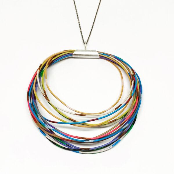 Colored wire and sterling silver pendant. Jane Pellicciotto