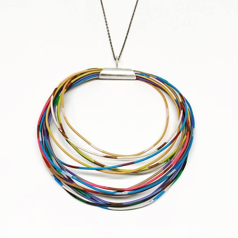 Colored wire and sterling silver pendant. Jane Pellicciotto
