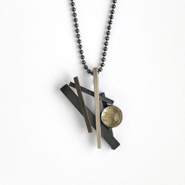 Crosshatch pendant with copper rutilated quartz. Sterling silver. Jane Pellicciotto