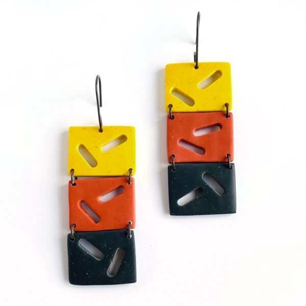 Three Tile Portal Earrings. polymer clay and sterling silver. Jane Pellicciotto