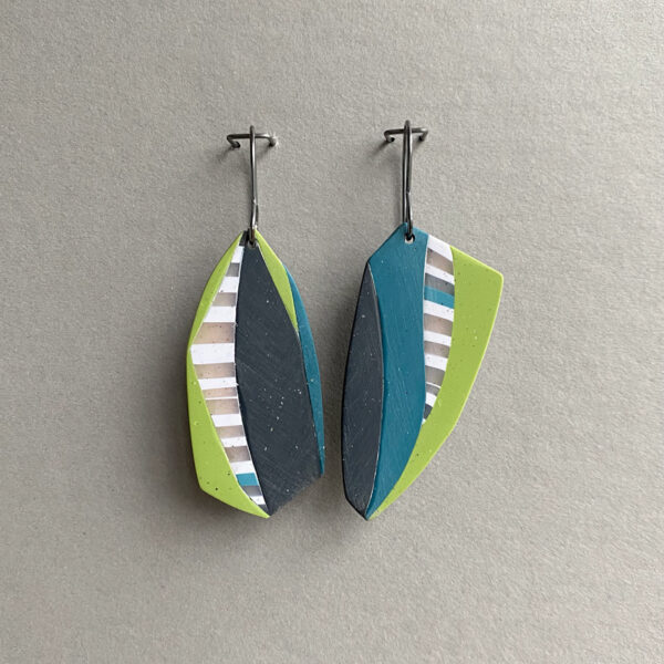 Polymer clay collage earrings, slate gray, lime green, teal, and stripes. Jane Pellicciotto
