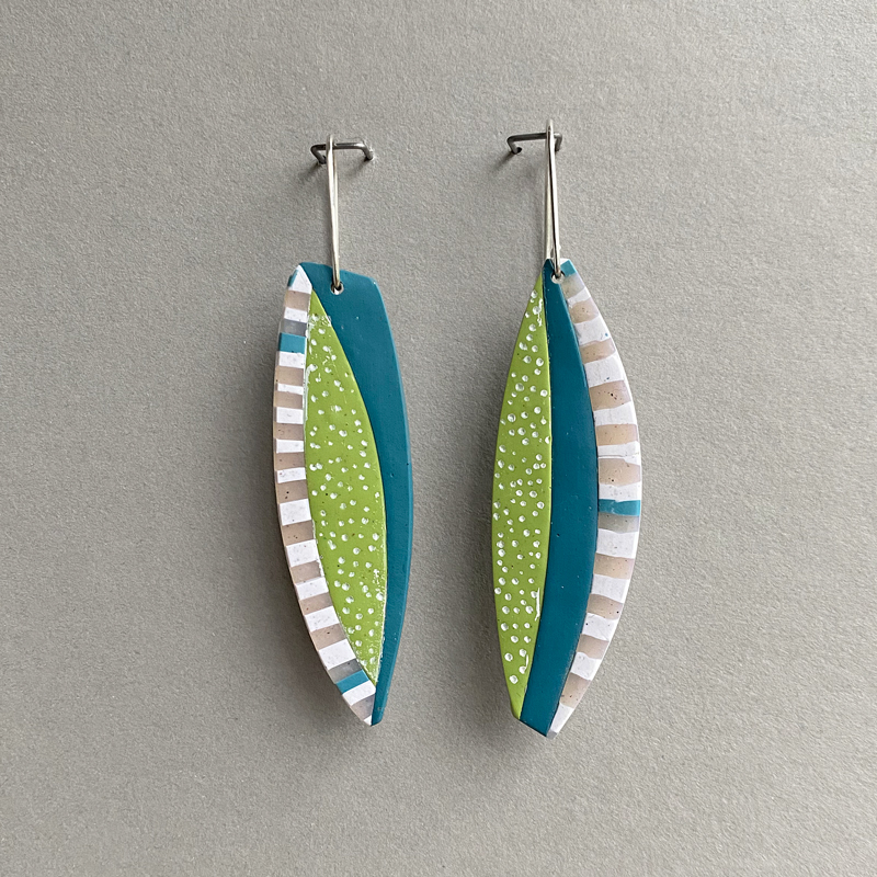 Polymer clay and sterling sivler earrings. Jane Pellicciotto