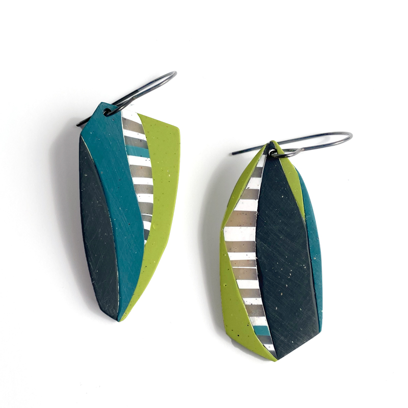 Collage stripe earrings. Jane Pellicciotto