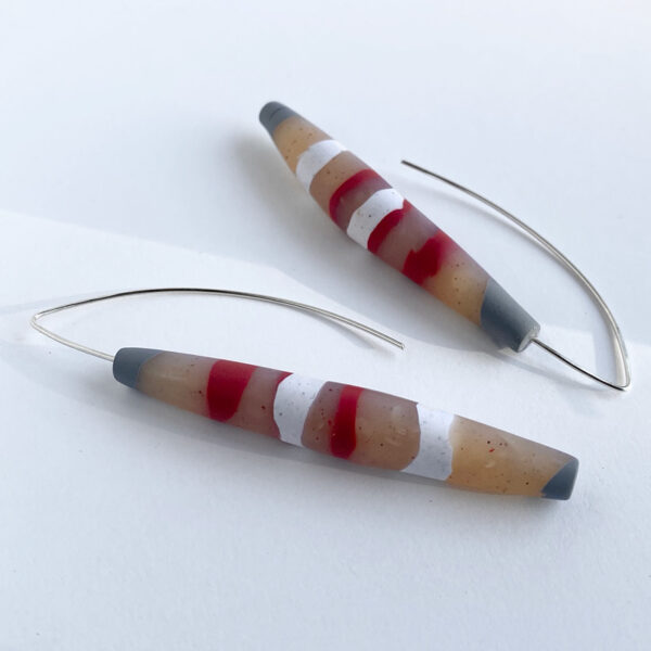Stripecicle earrings. Polymer clay and sterling silver. Jane Pellicciotto