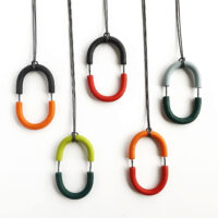 Double Arcata Pendant. Polymer clay and nylon cord. Jane Pellicciotto