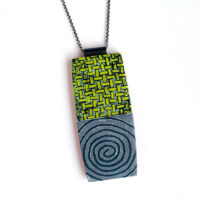 Stay On the Path necklace, polymer clay, sterling silver. Jane Pellicciotto