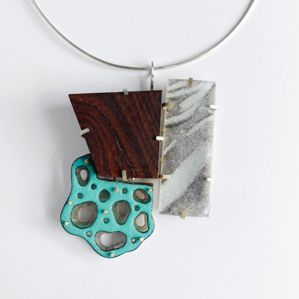 Waves and Puddles pendant. Sterling silver, glass, wood, enamel on copper. Jane Pellicciotto
